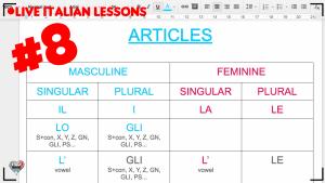 Italian Articles (beginner class) - Live Interactive Italian lesson [DAY 8]