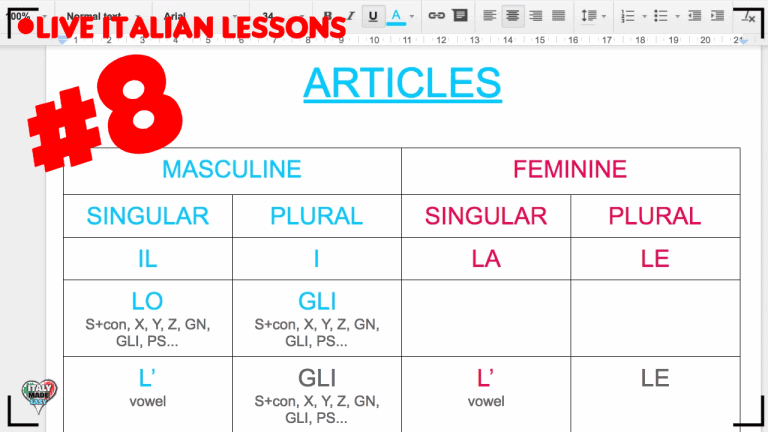 Italian Articles (beginner class) - Live Interactive Italian lesson [DAY 8]