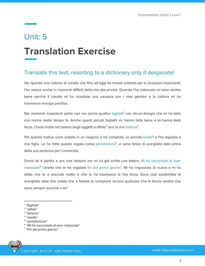 Translation Exercises Example Intermediate 1